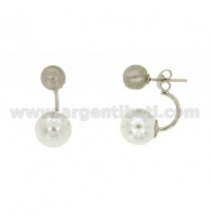 EARRINGS DOUBLE BALL MM 8.12 SILVER RHODIUM TIT 925 ‰ AND PEARL