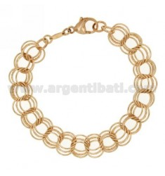 ROLO BRACELET VARIANT &39WIRE SILVER ROSE GOLD PLATED TIT 925 ‰ CM 19