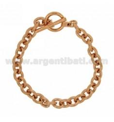 PULSERA DE VARIANTE CABLE MM 11x8 PLATA rosa de oro bañado TIT 925 ‰ 19 CM CON CIERRE T.BARR