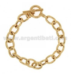BRACELET VARIANT CABLE MM 16X12 SILVER GOLD PLATED TIT 925 ‰ 19 CM WITH CLOSING T.BARR