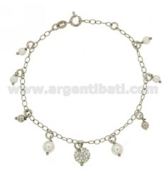 ROLO BRACELET WITH PEARLS IN SILVER RHODIUM TIT 925 ‰ CM 18 AND STRASS
