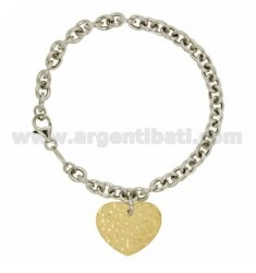 CABLE BRACELET WITH HEART HAMMERED SILVER RHODIUM AND GOLD PLATED TIT 925 ‰ CM 19