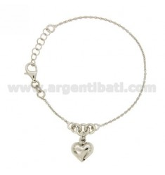 CABLE BRACELET WITH HEART BOMBATO PENDANT SILVER RHODIUM TIT 925 ‰ CM 17.19