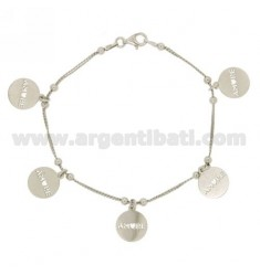 BRACELET COBRA 2 WIRES WITH LOVE DISKETTES PENDING IN SILVER RHODIUM TIT 925 ‰ CM 18