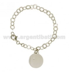 GIOTTO BRACELET WITH DISC WITH ZIRCON SILVER RHODIUM TIT 925 ‰ CM 18