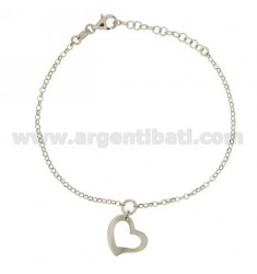 ROLO BRACELET 'WITH PERFORATED HEART IN RHODIUM-PLATED SILVER TIT 925 ‰ CM 17-19