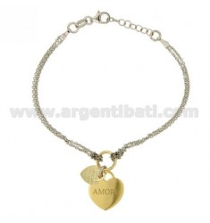 CABLE BRACELET WITH DOUBLE HEART LOVE.LOVE IN SILVER RHODIUM AND GOLD PLATED TIT 925 ‰ CM 17.19