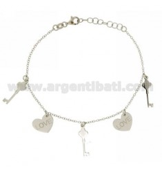 CABLE BRACELET WITH LOVE HEARTS AND KEYS IN SILVER RHODIUM TIT 925 ‰ CM 17.19