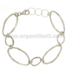 BRACELET OVAL SHAPED hammered SILVER RHODIUM TIT 925 ‰ CM 18