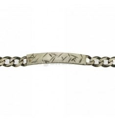Curb BRACELET WITH PLATE SILVER BRUNITO TIT 925 ‰ CM 20
