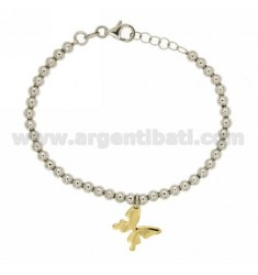 BRACELET WITH BUTTERFLY BALL 4 MM SILVER RHODIUM AND GOLD PLATED TIT 925 ‰ CM 20