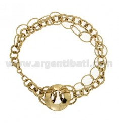 CABLE BRACELET MULTI WIRES IN SILVER GOLD PLATED LIGHT TIT 925 ‰ CM 19