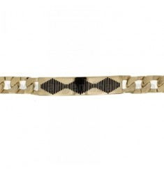 Curb BRACELET WITH PLATE ENAMELED SILVER PLATED GOLD LIGHT TIT 925 ‰ CM 21