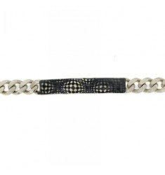 Curb BRACELET WITH PLATE IN SILVER RHODIUM TIT 925 ‰ CM 20 AND POLISH