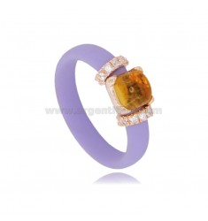 RING IN LILAC RUBBER WITH APPLICATION IN AG ROSE GOLD PLATED TIT 925 ‰, ZIRCONIA AND HYDROTHERMAL STONES, ASSORTED COLORS