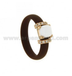RUBBER RING IN BROWN WITH APPLICATION IN ROSE GOLD PLATED AG TIT 925 ‰ ZIRCONIA AND STONES HYDROTHERMAL ASSORTED COLORS