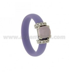 RING IN RUBBER &39LILAC WITH APPLICATION IN AG TIT RHODIUM 925 ‰, ZIRCONIA STONES AND HYDROTHERMAL ASSORTED COLORS