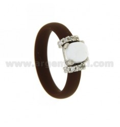 RING IN RUBBER &39BROWN WITH APPLICATION IN AG TIT RHODIUM 925 ‰, ZIRCONIA STONES AND HYDROTHERMAL ASSORTED COLORS