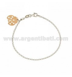ROLO BRACELET &39WITH LADYBIRD PENDANT SILVER RHODIUM AND GOLD PLATED PINK TIT 925 ‰ CM 18