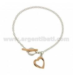 FLUSH ROLO PULSERA &39con colgante corazón de plata rodio y oro rosados plateados TIT 925 ‰ 18 CM CON CIERRE T.BARR
