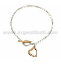 ROLO BRACELET &39FLUSH WITH HEART PENDANT SILVER RHODIUM AND GOLD PLATED PINK TIT 925 ‰ 18 CM WITH CLOSING T.BARR