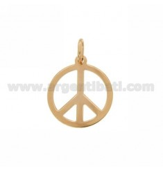 PENDANT PEACE SYMBOL LASER CUTTING 20 MM SILVER PLATED ROSE GOLD 925 ‰