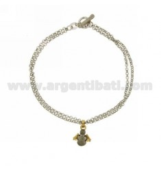 ROLO BRACELET 'DIAMOND 2 WIRES WITH SATIN CORNER WITH GOLD PLATED INSERTS IN SILVER RHODIUM TIT 925 ‰ T-BARR CLOSURE
