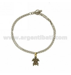ROLO BRACELET 'DIAMOND 2 WIRES WITH SATIN TURTLE WITH GOLD PLATED INSERTS IN SILVER RHODIUM-PLATED TIT 925 ‰ T-BARR CLOSURE