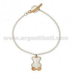 ROLO BRACELET 'WIRE WITH BEAR WITH INSERTS IN MOTHER OF PEARL ROSE GOLD PLATED SILVER RHODIUM-PLATED TIT 925 ‰ T-BARR CLOSURE