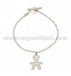 ROLO BRACELET 'WITH CHILD WITH INSERTS IN MOTHER OF PEARL SILVER RHODIUM-PLATED TIT 925 ‰ CLOSING T-BARR