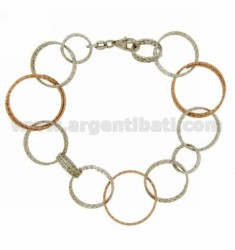 BRACELET CIRCLES DIAMOND WIRE SILVER PLATED ROSE GOLD AND RHODIUM TIT 925 CM 18