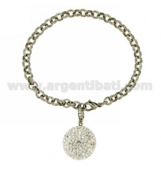 ROLO BRACELET IN STEEL WITH BALL WITH RHINESTONES AND OTHER MATERIALS