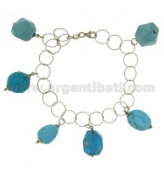 ROLO BRACELET WIRE WITH TURQUOISE PASTE STONES PENDANTS IN SILVER RHODIUM PLATED TIT 925 ‰ CM 18