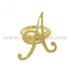 RING ADJUSTABLE LETTER &quotA&quot IN GOLD PLATED TIT 925 ‰