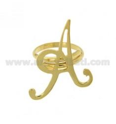 Ring einstellbar Buchstaben &quotA&quot in vergoldetem TIT 925 ‰