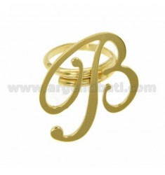ADJUSTABLE RING LETTER &quotB&quot IN SILVER GOLD PLATED TIT 925 ‰