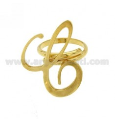 RING ADJUSTABLE LETTER &quotC&quot IN GOLD PLATED TIT 925 ‰