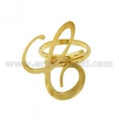 Ring einstellbar Buchstaben &quotC&quot in vergoldetem TIT 925 ‰