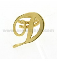 ADJUSTABLE RING LETTER &quotD&quot IN SILVER GOLD PLATED TIT 925 ‰