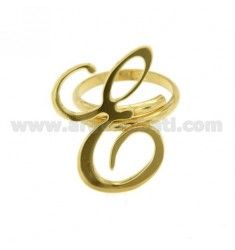 ADJUSTABLE RING LETTER &quotE&quot IN SILVER GOLD PLATED TIT 925 ‰