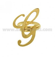 RING ADJUSTABLE LETTER &quotG&quot SILVER GOLD PLATED TIT 925 ‰