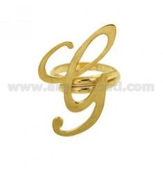 Ring einstellbar Buchstaben &quotG&quot Silber vergoldet TIT 925 ‰