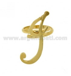 ADJUSTABLE RING LETTER &quotI&quot IN SILVER GOLD PLATED TIT 925 ‰