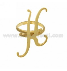 RING ADJUSTABLE LETTER &quotK&quot SILVER GOLD PLATED TIT 925 ‰