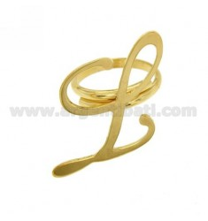RING ADJUSTABLE LETTER &quotL&quot IN GOLD PLATED TIT 925 ‰