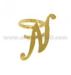RING ADJUSTABLE LETTER &quotN&quot SILVER GOLD PLATED TIT 925 ‰