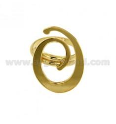 Ring einstellbar Buchstaben &quotO&quot Silber vergoldet TIT 925 ‰