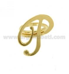 Ring einstellbar Buchstaben &quotP&quot Silber vergoldet TIT 925 ‰
