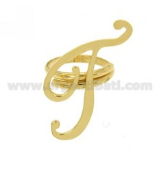 RING ADJUSTABLE LETTER &quotT&quot SILVER GOLD PLATED TIT 925 ‰