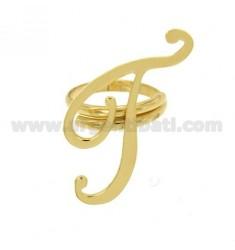 Ring einstellbar Buchstaben &quotT&quot Silber vergoldet TIT 925 ‰